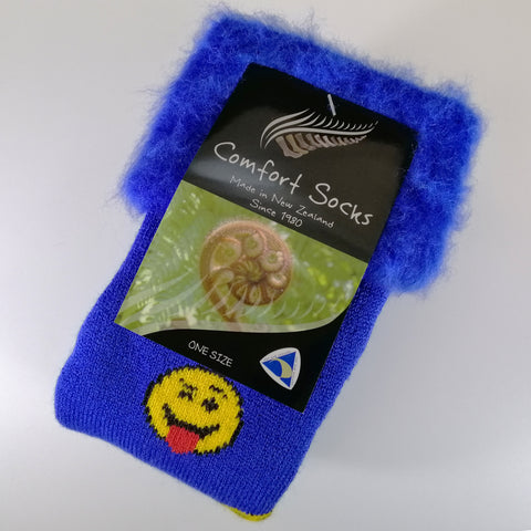 Comfort Bed Socks - Royal Blue Emoji