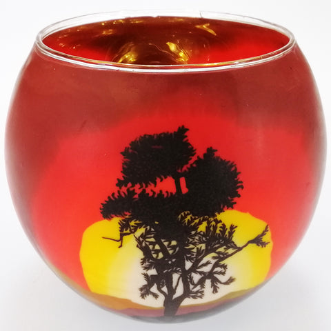 Glass Illusions 10cm Tea Light Shade - Tree in the Sunset