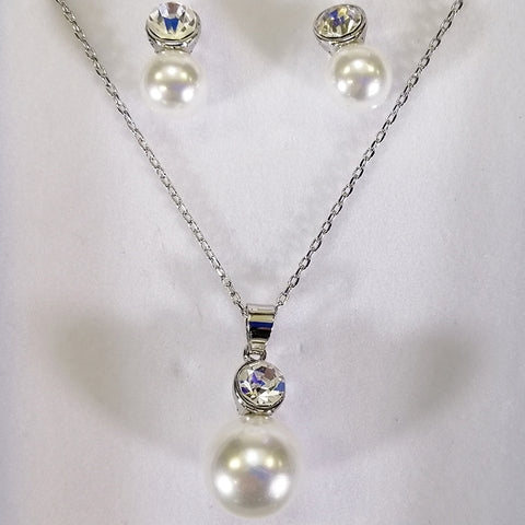 Faux Pearl Necklace and Earring Set - Silver-look