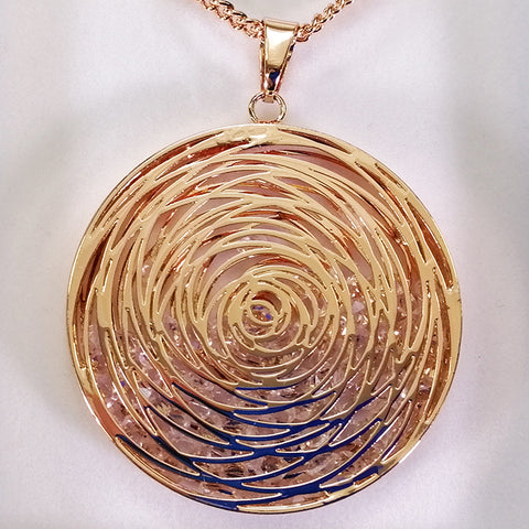 Pendant Necklace - Circles with Crystal Inner - Bronze-look