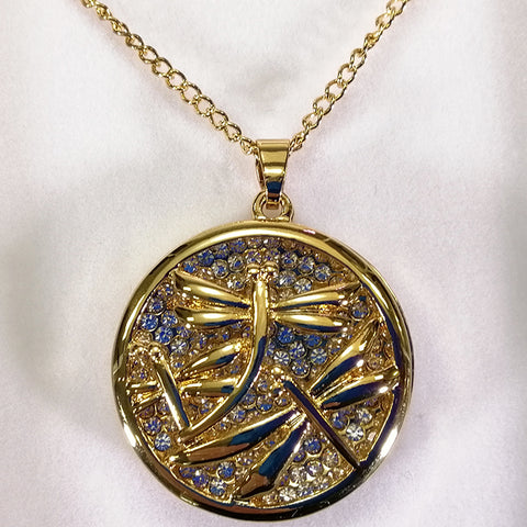 Pendant Necklace - Dragonfly - Gold-look
