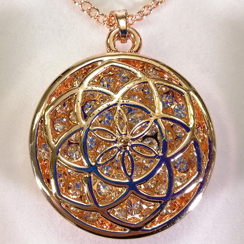 Pendant Necklace - Lotus - Rose Gold-look