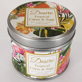 Desire Tropical Candle in Tin - Citrus & Sage