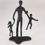 Iron Silhouette Sculpture - Father & Children