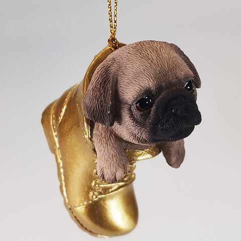 Hanging Ornament - Pug in Boot