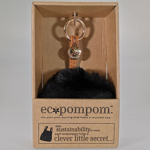 Eco Bag Pom Pom Keyring Bag Charm - Black