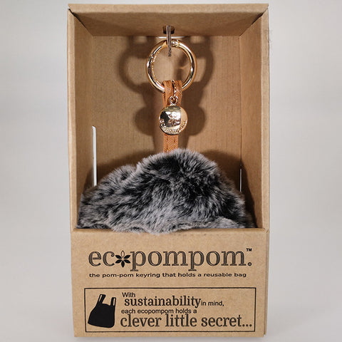 Eco Bag Pom Pom Keyring Bag Charm - Charcoal