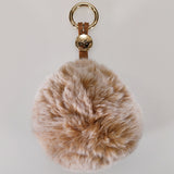 Eco Bag Pom Pom Keyring Bag Charm - Tan