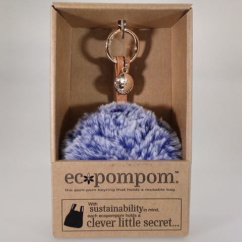 Eco Bag Pom Pom Keyring Bag Charm - Blue