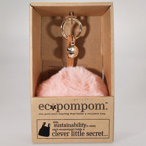 Eco Bag Pom Pom Keyring Bag Charm - Blush