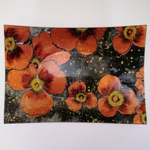 Glass Plate - Rectangular - Red Poppies