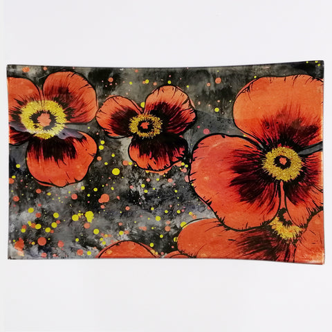 Glass Plate - Large Rectangular - Red Poppies