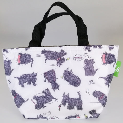 Eco Lunch Bag - White Scottie Dog - 100% Recycled Material