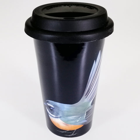 "Bone China Silicone Travel Mug - ""Piwakawaka"""