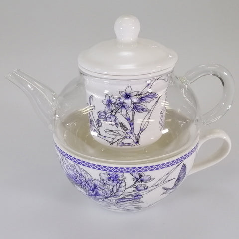 """Indigo Hummingbird"" - Tea For One Set"