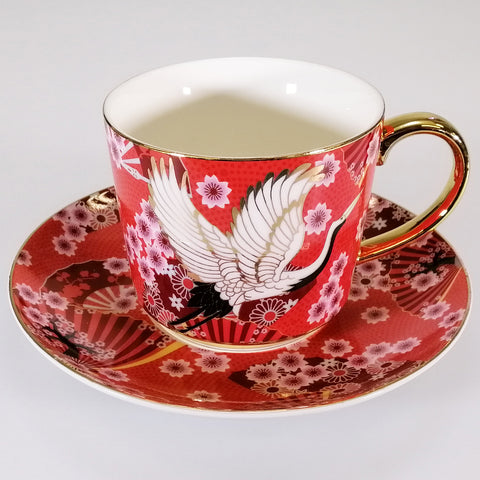 Osaka Collection - Red Cranes - Tea Cup and Saucer