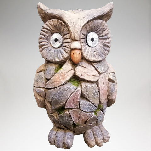 Ceramic Garden Ornament with Solar Light Eyes - Owl