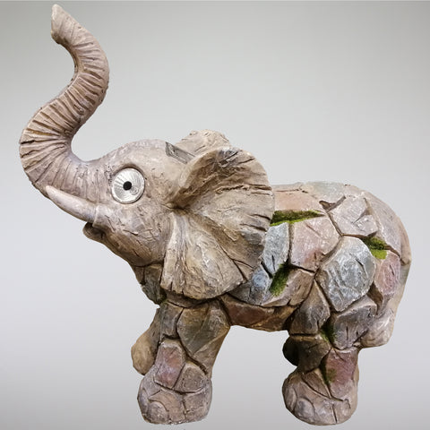 Ceramic Garden Ornament with Solar Light Eyes - Elephant