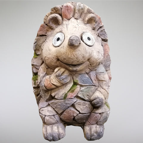 Ceramic Garden Ornament with Solar Light Eyes - Sitting Hedgehog
