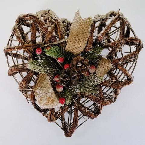 Rustic Heart Wreath - Light Up