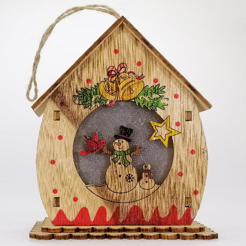 Wooden Christmas Scene Ornament - Light Up