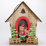 Wooden Fenced Cabin Ornament - Light Up