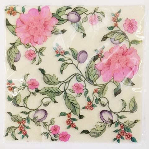 """Pink Floral on White"" Paper Napkins - 20"