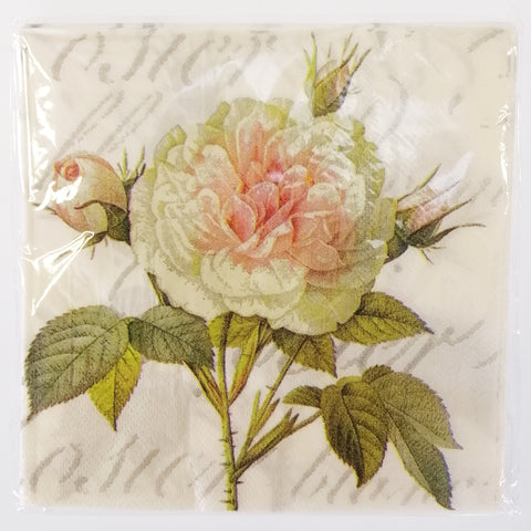"""Pink Blush Rose"" Paper Napkins - 20"