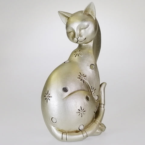 Silver-look Cat with Mirrored Inserts - 22cm