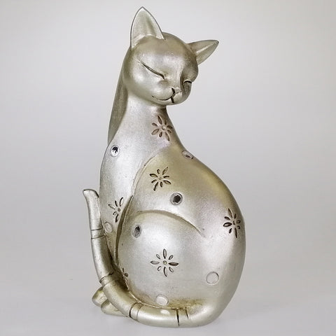Silver-look Cat with Mirrored Inserts - 17cm