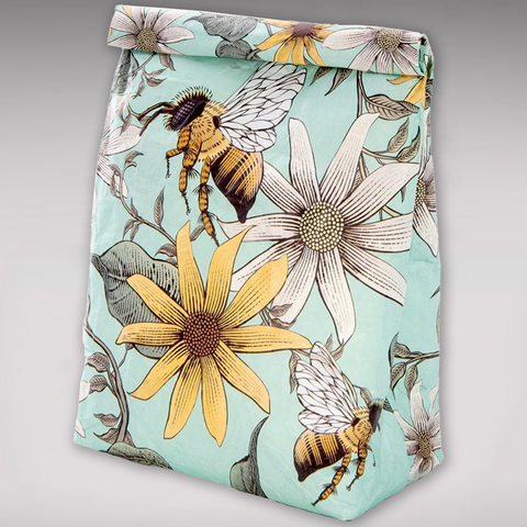 Reusable Paper Lunch Bag - Bees