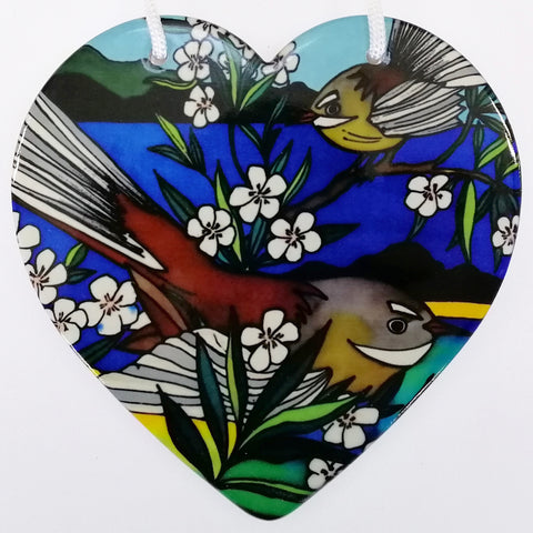 Fantail Ceramic Heart Wall Hanging