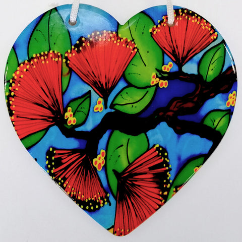 Pohutakawa Ceramic Heart Wall Hanging
