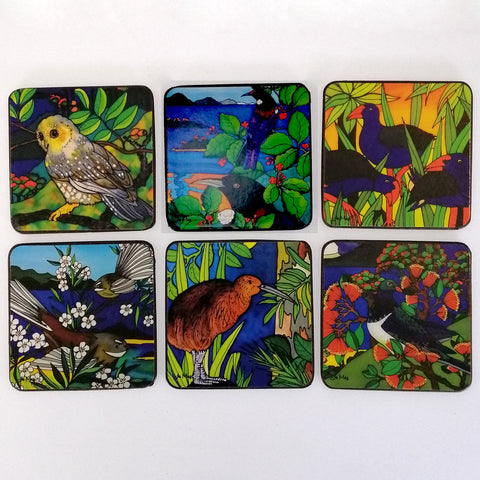 "Coasters - ""NZ Birds"" - Set of 6"