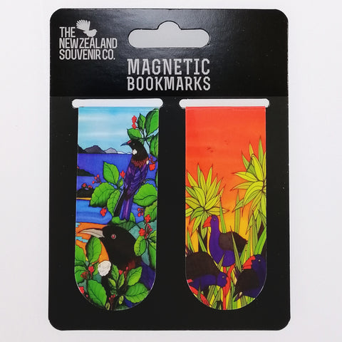 NZ Magnetic Bookmarks - Tui & Pukeko - Two