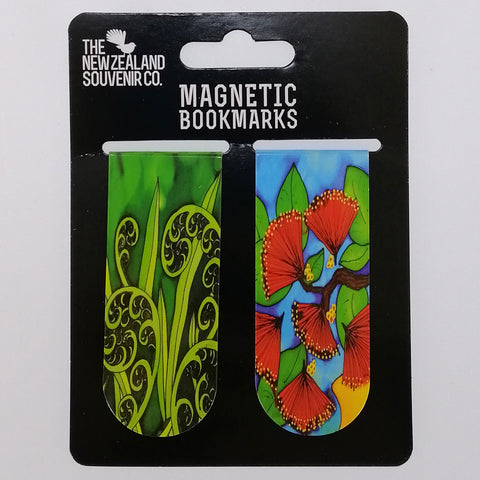NZ Magnetic Bookmarks - Pohutakawa & Fern - Two
