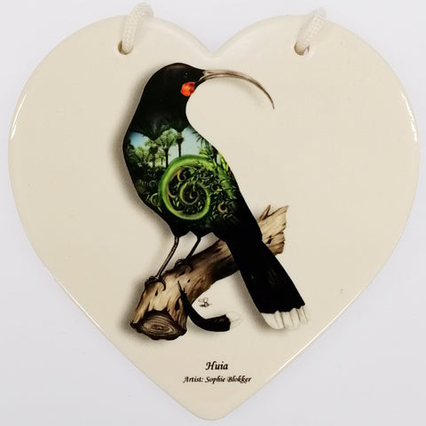 Huia Ceramic Heart Wall Hanging - White
