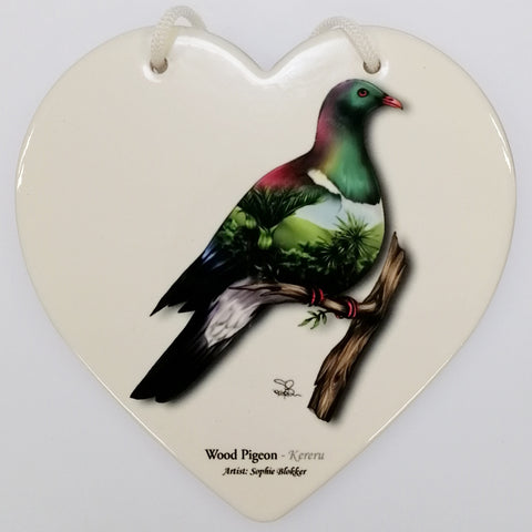 Wood Pigeon Ceramic Heart Wall Hanging - White