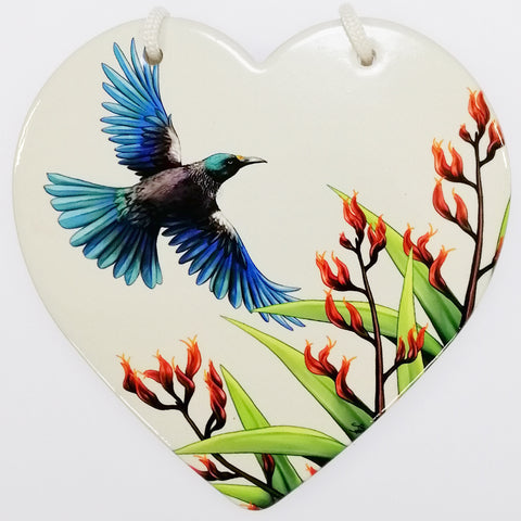 Tui in Flight Ceramic Heart Wall Hanging - White