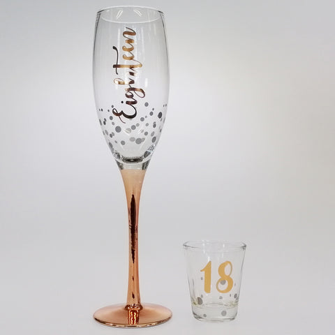 18th Rose Gold Stem Champagne & Shot Glass Set