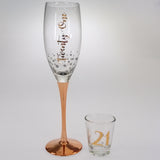 21st Rose Gold Stem Champagne & Shot Glass Set