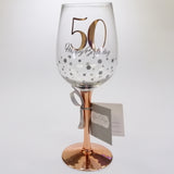 50th Happy Birthday Rose Gold Stem Wine Glass