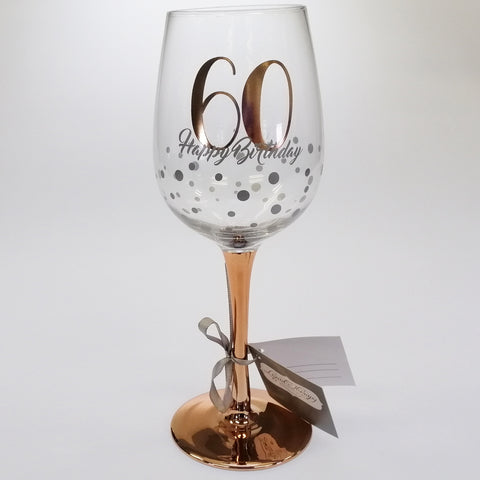 60th Happy Birthday Rose Gold Stem Wine Glass