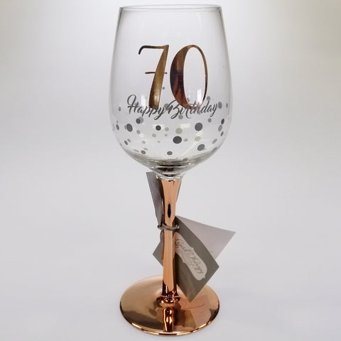 70th Happy Birthday Rose Gold Stem Wine Glass