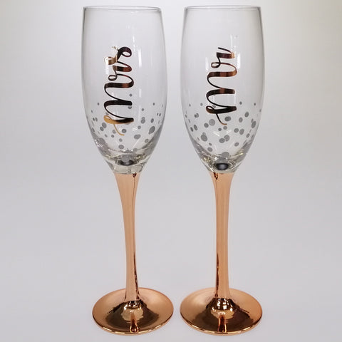 MR & MRS Rose Gold Stem Champagne Glass - Set of 2