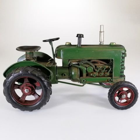 Vintage Green Tractor Sculpture