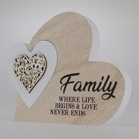 'Family' Heart Plaque - Small - 2 Piece