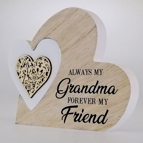 'Grandma' Heart Plaque - Small - 2 Piece