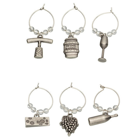 Silver Wine Charms - 6pc Set