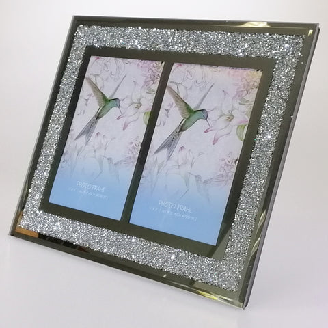 "Mirror Diamante-look Photo Frame - 2 x 6"" x 4"""